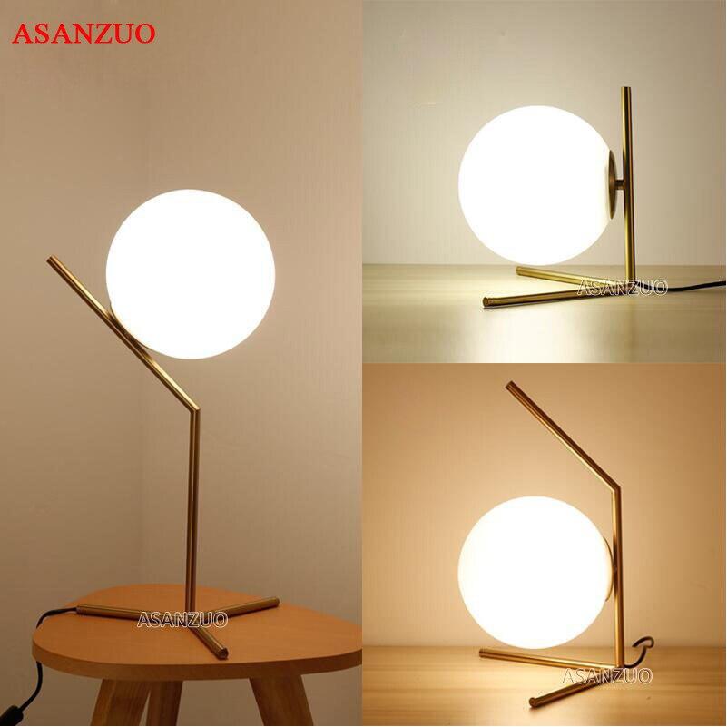 Lámpara de mesa LED moderna, lámpara de escritorio, pantalla de cristal, lámpara de mesa, lámpara de escritorio para dormitorio, sala de estar, mesita de noche, diseño dorado