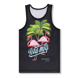 Summer Fashion Men/Women 3d Vest White Black Print Coconut Tree Flamingo Hip Hop Quick Dry Beach Mesh Breathable Tank Tops BT635