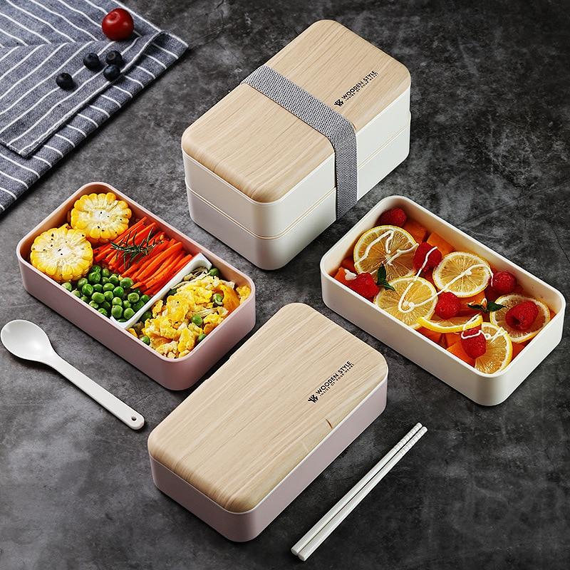 KitchenAce portátil de calidad alimentaria de plástico de doble cubierta Bento Box caja de almuerzo térmico Oficina Picnic viaje a prueba de fugas termos Mess Tin