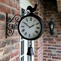 New Outdoor Garden Wall Station Clock Double Sided Cockerel Vintage Retro Home Decor