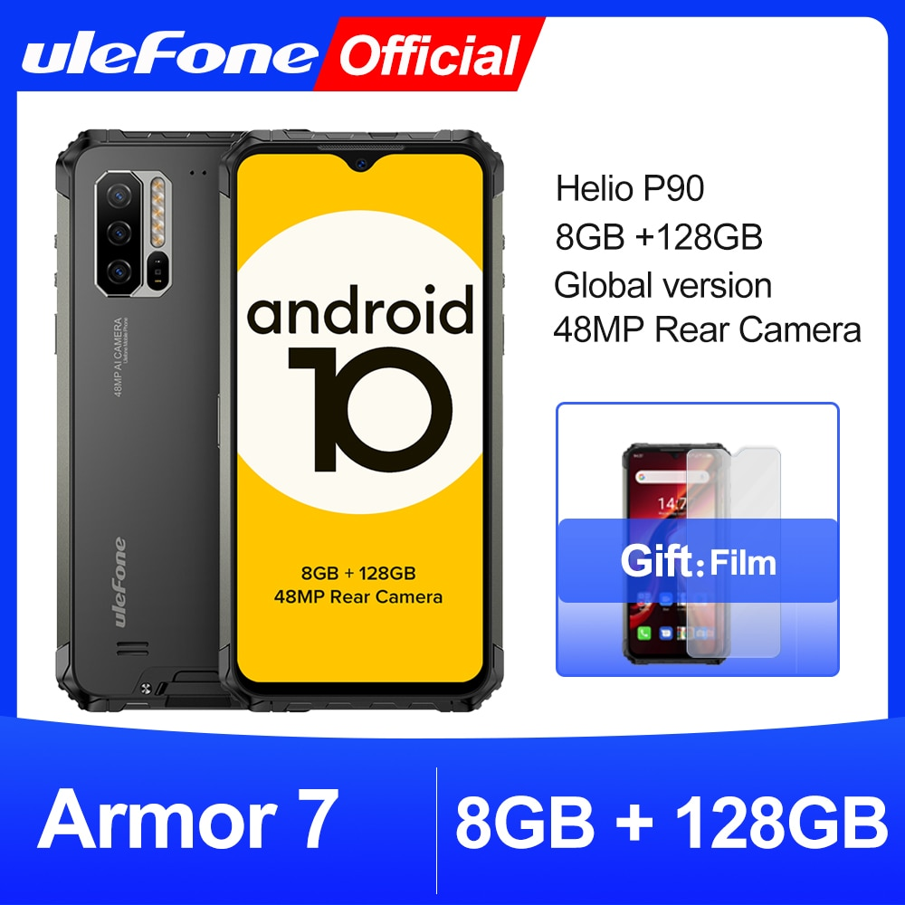 Ulefone Armor 7 Rugged Mobile Phone Android 10  2.4G/5G WiFi 8GB+128GB Helio P90 IP68  48MP CAM 4G L