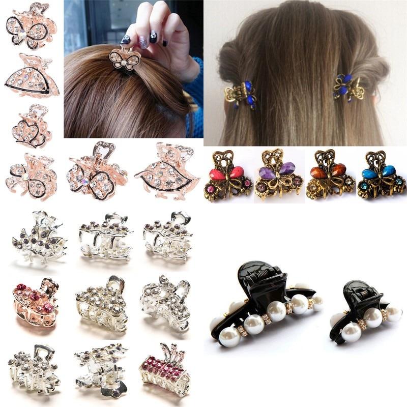 Hair Claws Accessories Mini Butterfly Headwear Hair Claws Clip Pearls Hairpins for Women Girls Mini Hairpin Hair Clip Clamp Crab