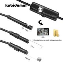 Kebidumei мини-камера USB 1 м/7 мм объектив жесткий осмотр змеиная трубка Водонепроницаемый эндоскоп с 6 светодиодами бороскоп для Android новейший