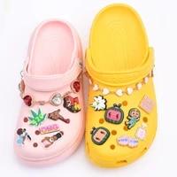 100 pcsset mix sale pvc shoe charms accessories cute cartoon decorations fit croc sandals bracelets ornaments kids gift