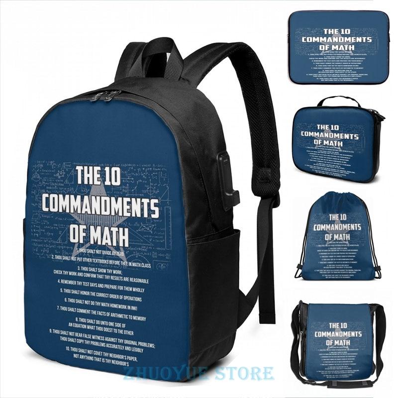 Los 10 mandamientos de matemáticas-divertido regalo de matemáticas Pun USB carga mochila hombres escuela bolsas de cosméticos bolsa de viaje portátil