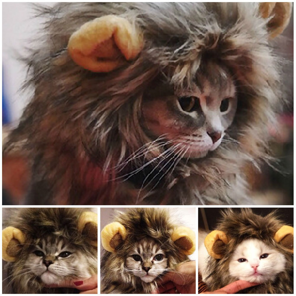 Funny Cute Pet Cat Costume Lion Mane Wig Cap Hat for Cat Dog Halloween Christmas Clothes Fancy Dress