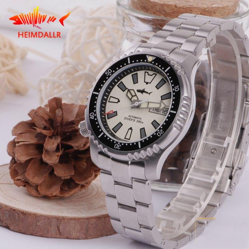 HEIMDALLR Men Automatic Watch Sapphire Crystal Luminous 200M Waterproof Diver  Japan NH36A Movement Mechanical Watches
