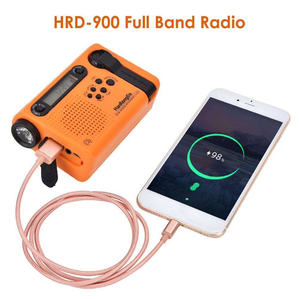 Multifunctional Hand Radio Solar Crank Dynamo Powered AM/FM/SW Weather Radio Use Emergency LED Flashlight 2000mAh Power Bank enlarge