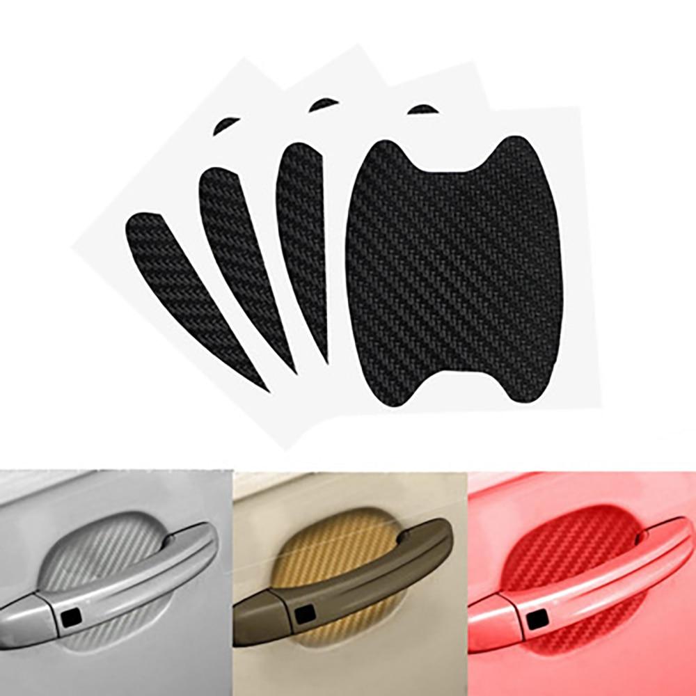 4 шт., автомобильные наклейки на дверные ручки, из углеродного волокна