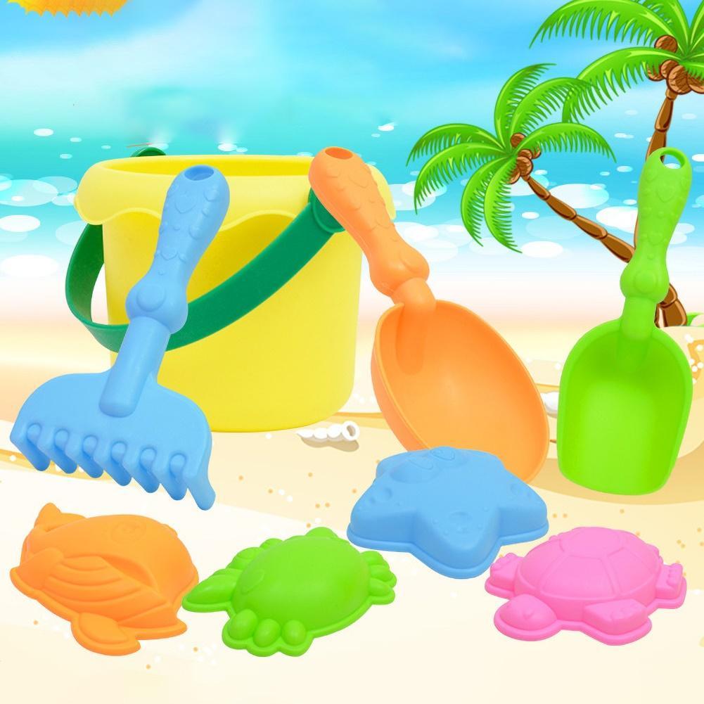 8Pcs Kids Outdoor Beach Bucket Shovel Rake Mold Water Sand Play House Toy Set Kids Fun Beach Party Games