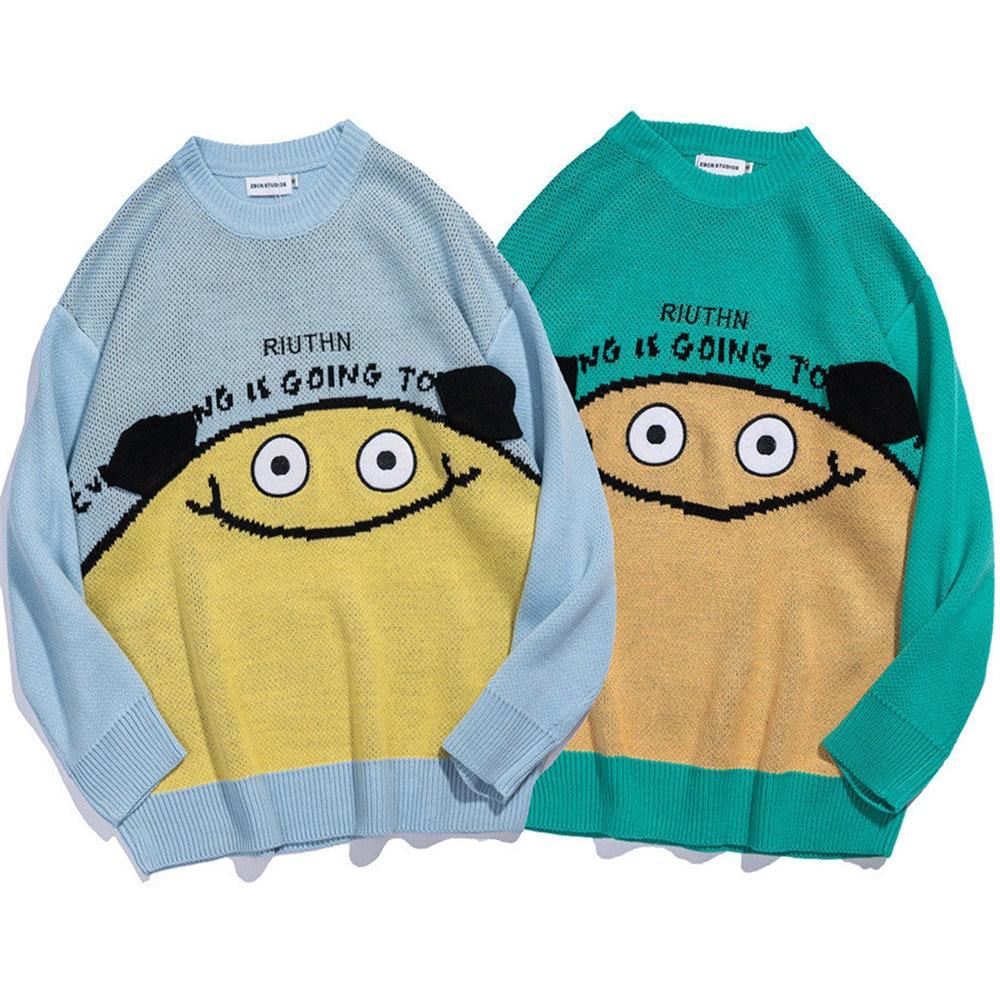 Knitted Harajuku Winter Clothes Men Women 2021 Oversized Sweaters Funny Cartoon Cute Japanese Kawaii Streetwear