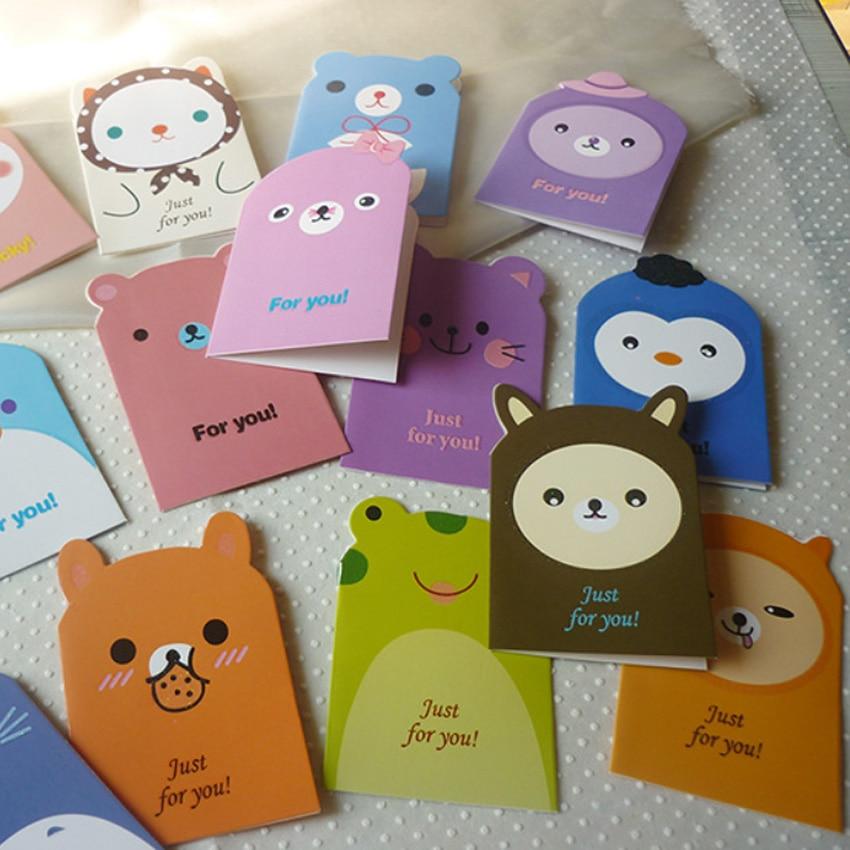 5pcs Kawaii Cartoon Animals Whishing Card Randomly Birthday Greeting fashion gifts for kids