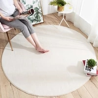 fluffy round carpet rugs for bedroom living room study decor solid color nordic thick soft plush anti slip carpet children rug