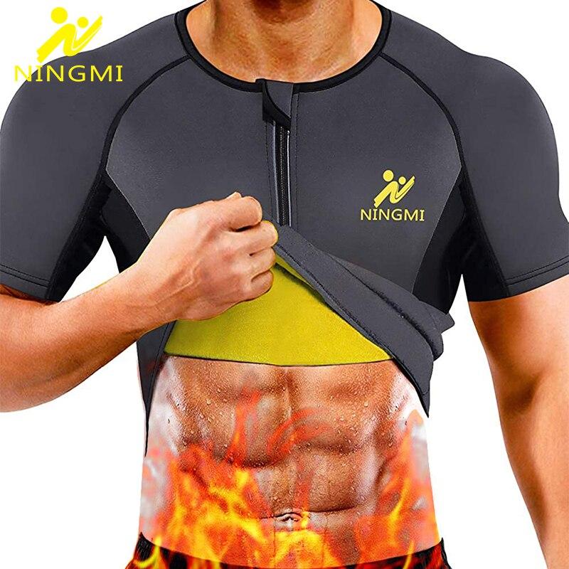 NINGMI الرجال سترة رياضية علوية محدد شكل الجسم التخسيس مدرب خصر صدرة للجري النيوبرين ساونا دعوى ملابس داخلية قمصان رياضية تنفس سترة