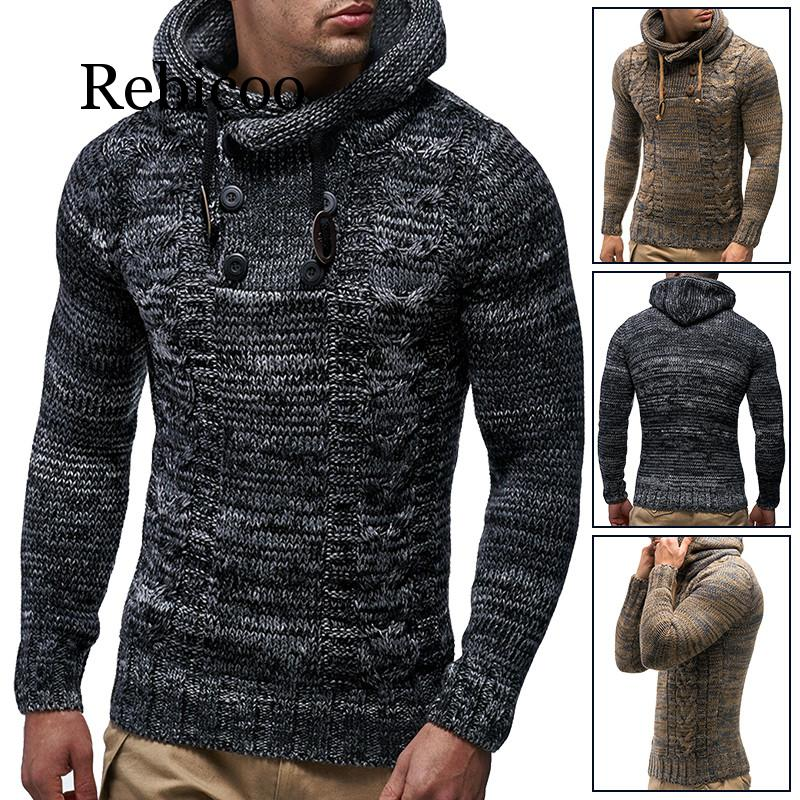 Rebicoo Winter Thicken Warm Hooded Cotton Sweater Men's Long Sleeve Turtleneck Pullover Slim Men's Sweater Brand Jacket Men