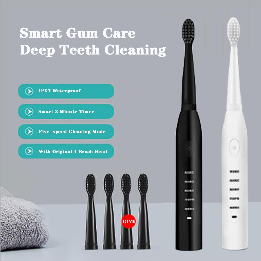 Eco-Friendly Ultrasonic Smart Whitening Electric Toothbrush / Min Washed in 5 Modes Cleaning Tool Can Be Recharged 41000 Times enlarge