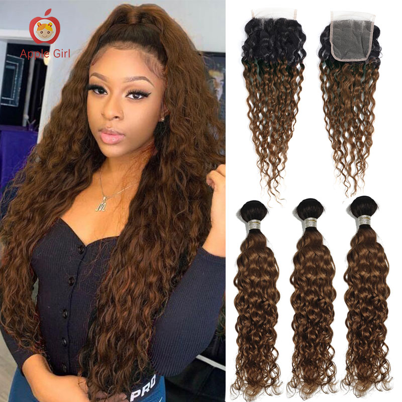 Ombre Human Hair Bunldles With Closure Brazilian Water Wave Applegirl Remy Hair Free Part Lace Closure With 3 Bundles