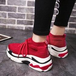 Sapatos femininos moda meias tênis para mulher malha respirável vulcanize sapatos cesta femme vermelho alta superior esporte sapatos casuais mulher