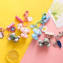 2020 New lucky Dumbo doll key chain Korean cute creative Ins doll key chains pendant bag pendant key ring gift for friends
