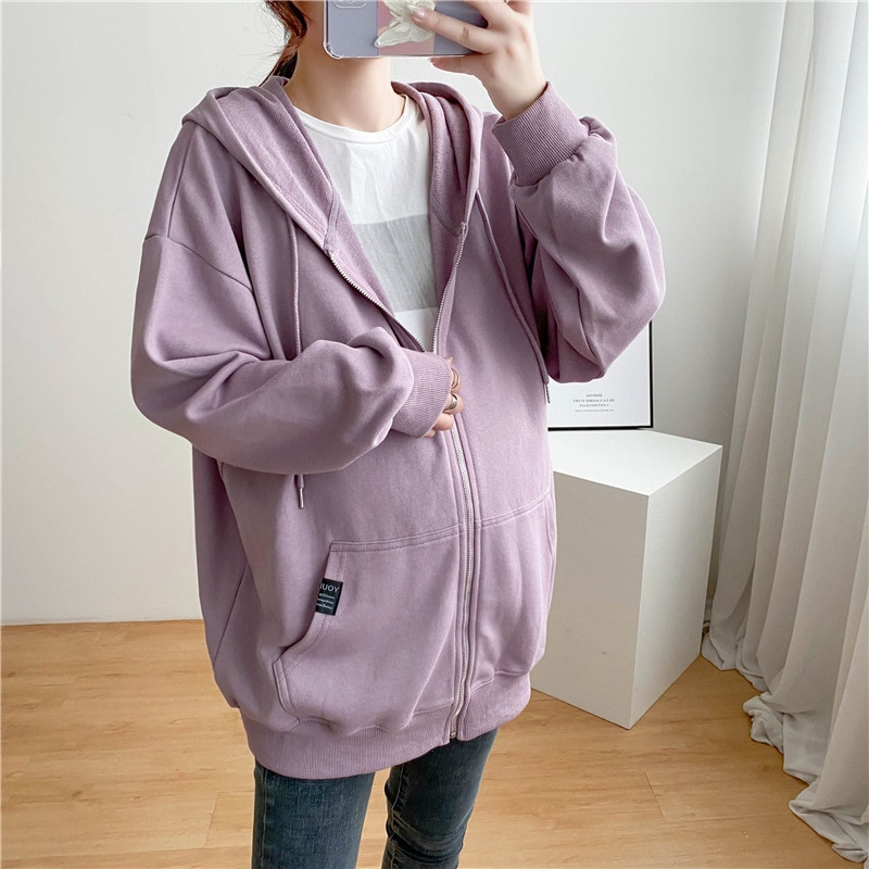 Maternity Outwear Pregnancy Clothes Cotton Casual Hooded Zipper Open Long Autumn Winter Jacket For Pregnant Woman Coats 2021