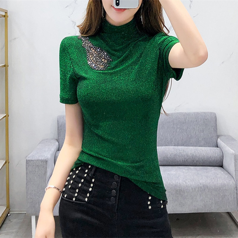 #5910 noir rouge vert brillant col roulé T-shirt femmes à manches courtes mince évider avec diamants serré basique T-shirt Femme Sexy