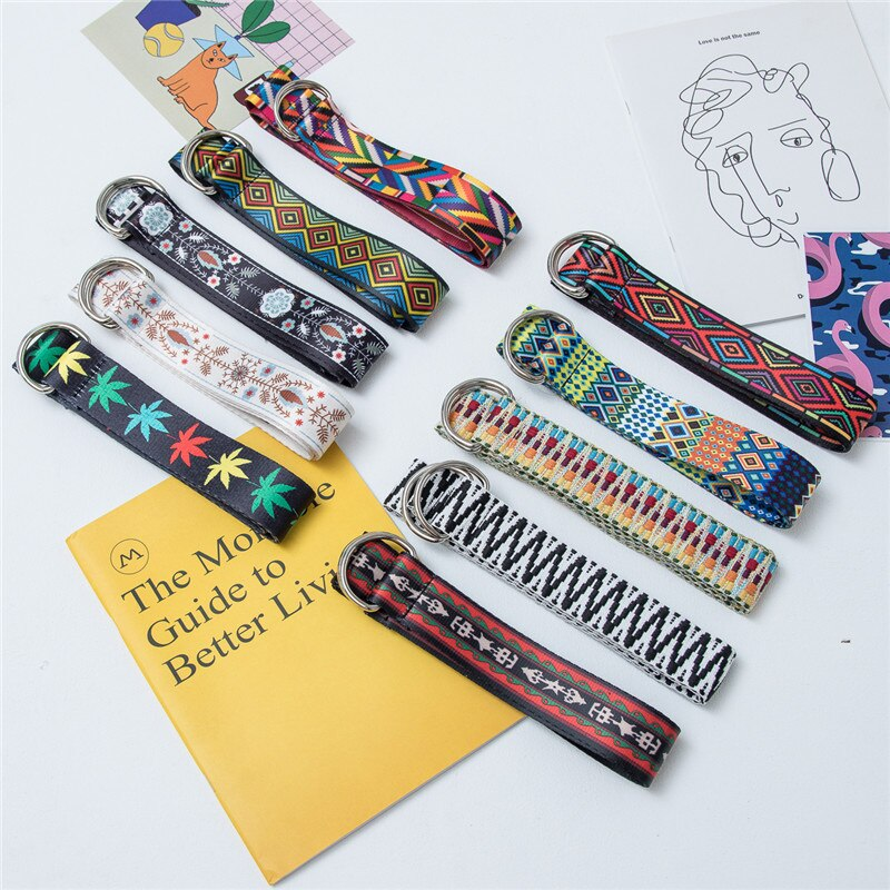 Personalized Ethnic Retro Canvas Leather Female Ins Versatile Korean Style Student Jeans Belt Man Pa