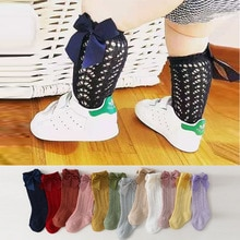 0-7 Years Breathable Fishnet Kids Socks Girls Cotton High Socks Lace Fish Net Vintage Back Bow Knee