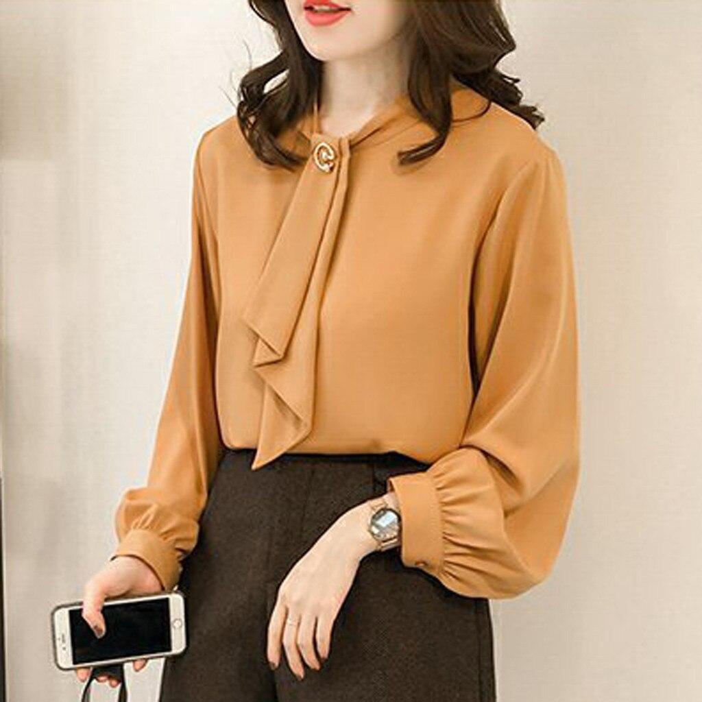 Primavera de las mujeres Blusa de gasa largo manga linterna o-Cuello Casual Tops botón sólido corbata camisas y blusas Tops para mujer, elegante.