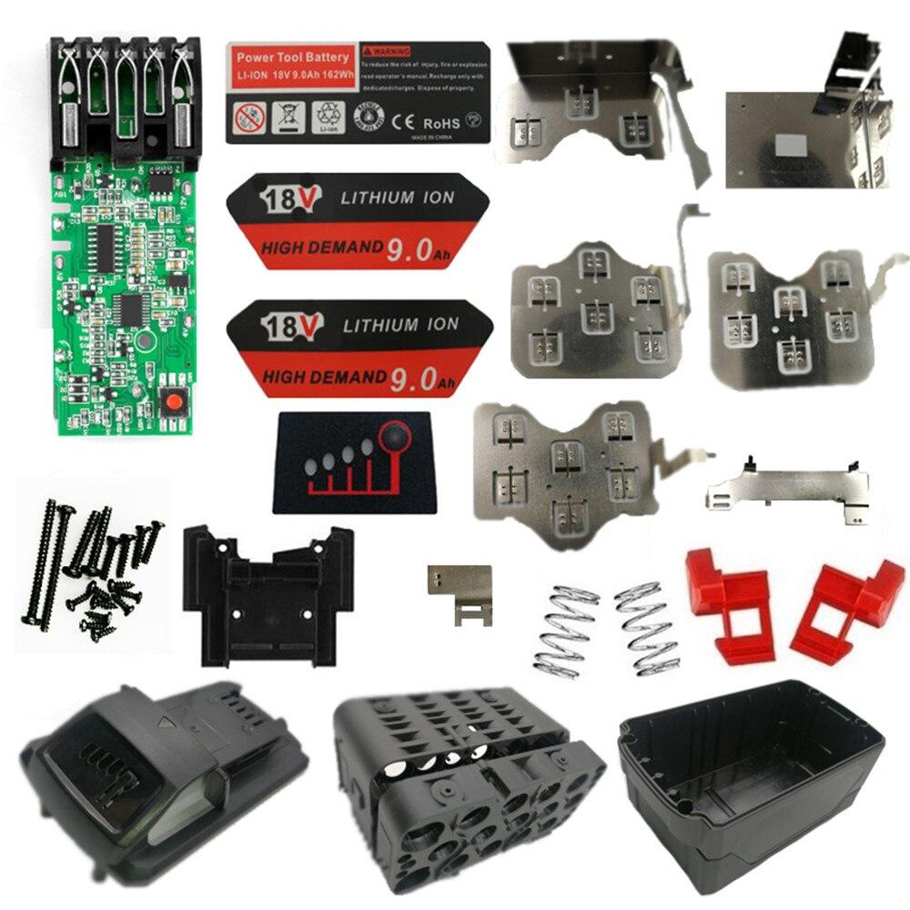 Carcasa de plástico de batería de iones de litio M18 PROTECCIÓN DE PCB placa de circuito conjunto de batería para Milwaukee 15 Core 3 capas 9Ah etiqueta adhesiva