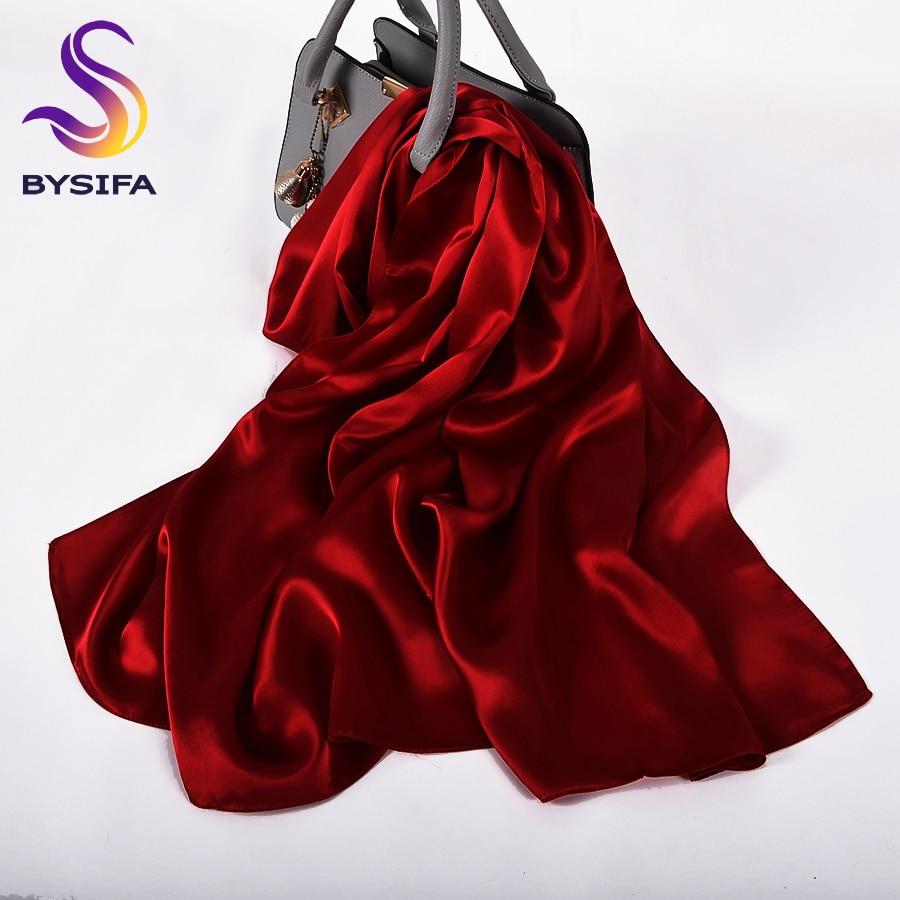 BYSIFA-وشاح كريب ساتان من الحرير الخالص للنساء ، وشاح ، وشاح ، وشاح ، حرير ، نبيذ أحمر ، عصري ، طويل ، للسيدات
