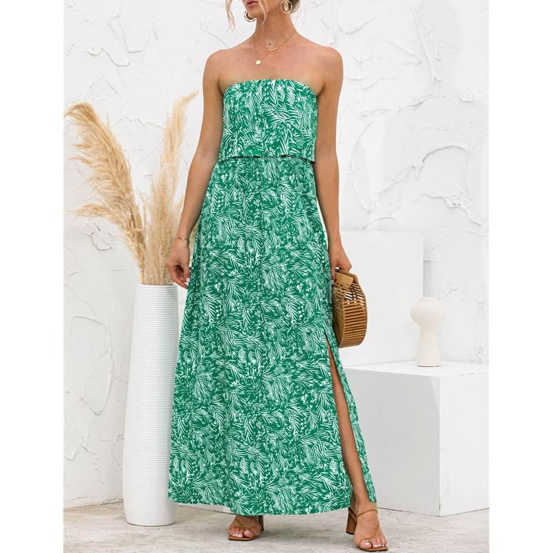 Women Strapless Sexy Long Dress Summer Leaves Floral Print Side Split Boho Beach Holiday Maxi Dresses 2021 Green