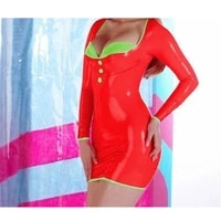 latex rubber gummi cosplay red party cosplay long sleeves dress xs xxl for women