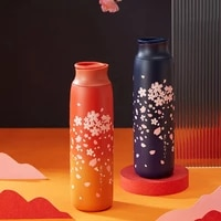 japanese style sakura thermos bottle portable travel coffee mug insulated cup 304 stainless steel thermos vacuum flask gifts