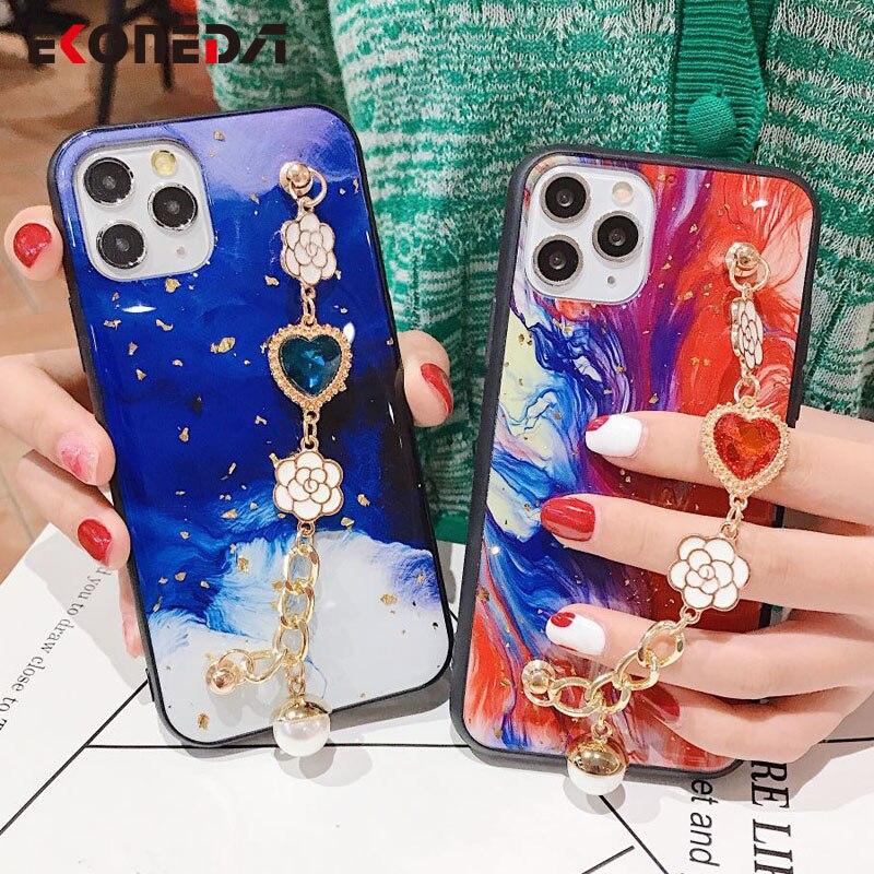 Caja de cadena de correa de muñeca EKONEDA para Samsung Galaxy A71 A70 A51 A50 A30 S8 S9 S10 S20 Ultra Note 8 9 10 Plus funda de mármol de lujo