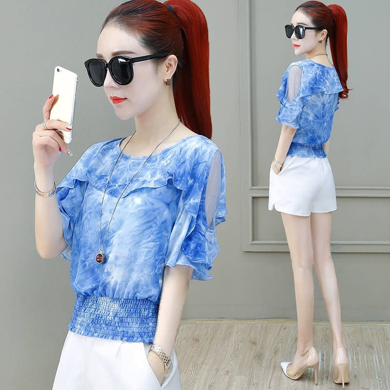 Lady Casual Off Shoulder Blusas Women Short Sleeve O-Neck Chiffon Blouses Shirts Spring Summer Style Tops Plus Size 4XL