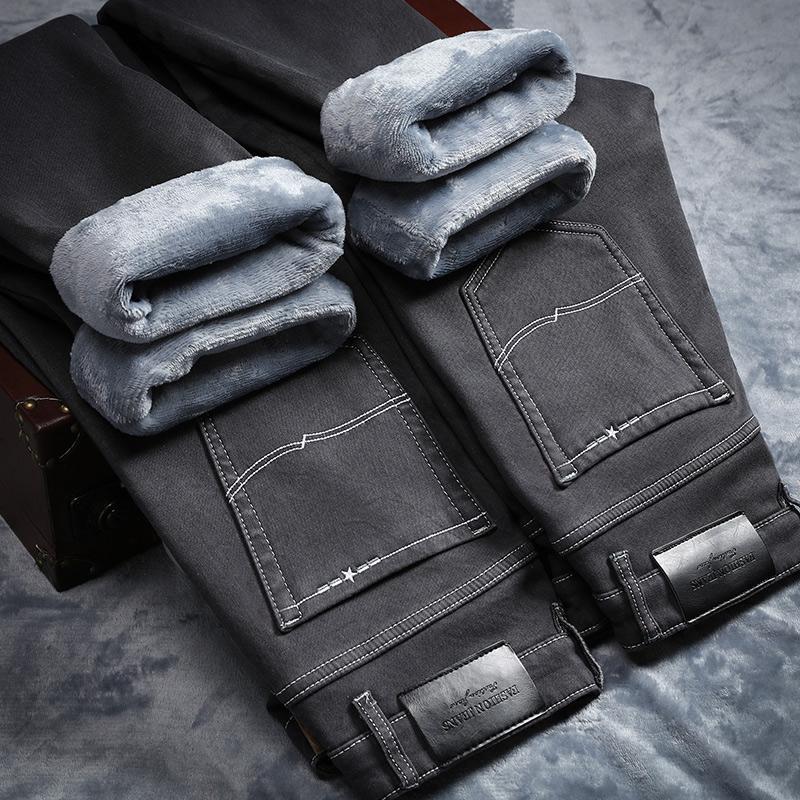 2021 облегающие эластичные плотные бархатные брюки для холодной погоды, теплые джинсы, повседневные серые флисовые зимние джинсы, мужские че...