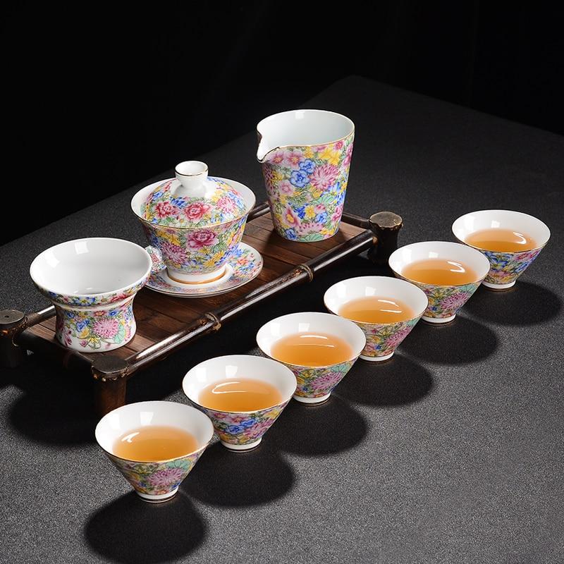 الصينية رائعة teبينة مجموعة المشوي السيراميك الكونغ فو Teaset المينا الأزرق والأبيض الخزف فنجان شاي مكتب هدية التخصيص