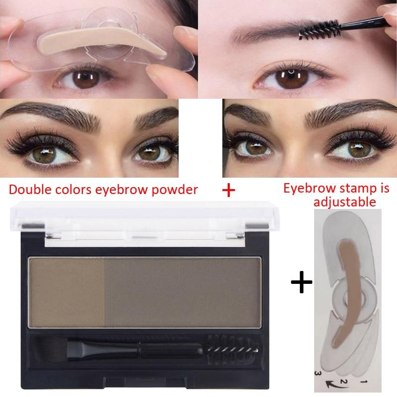 Eyebrow Enhancers Powder Palette 2 Colors Long Last Waterproof Eyebrow Pigment with Eye Brow Brush Tool Women Daily Cosmetics