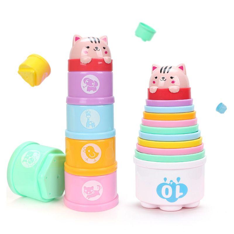 Vasos apilables de baño para niños y bebés Montessori juguetes apilables de agua