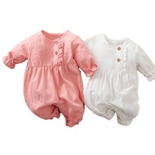 Baby  Clothes New Born Long Sleeve Linen Breathable Infant Pajama Toddler Girl Romper