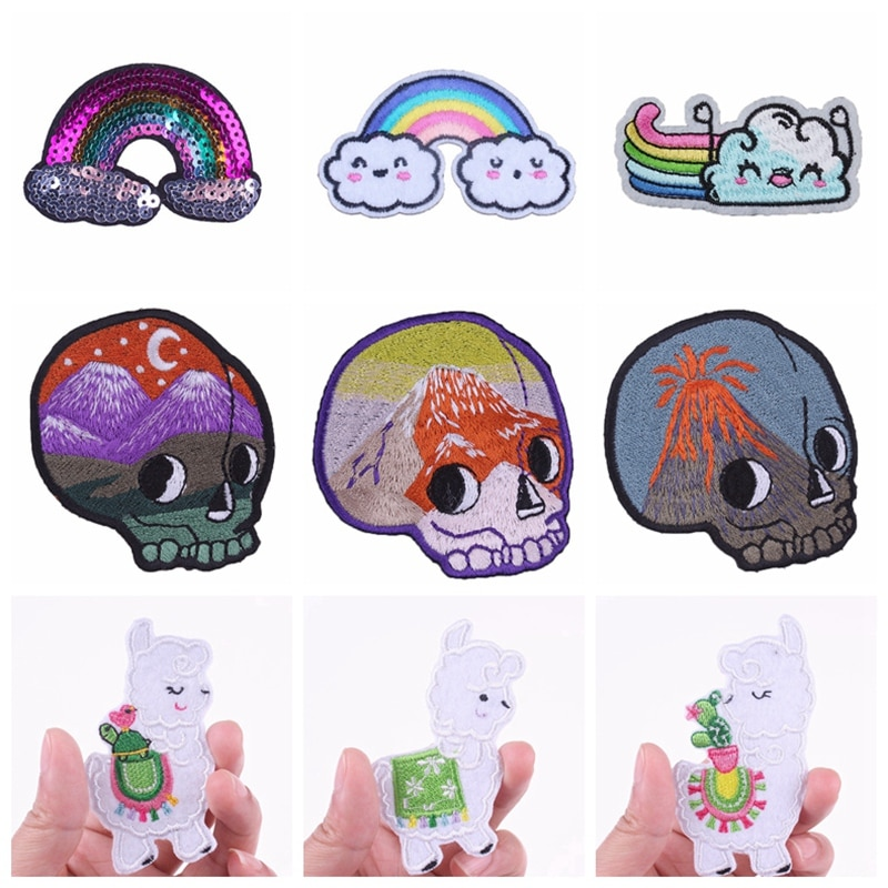 Nicediy Cute Cheap Skull Rainbow Alpaca Iron On Patches For Clothes Embroidered Patch On Clothing Garment Badge Applique Decor