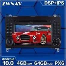 4 + 64GB Android 10.0 lecteur multimédia de voiture pour Mercedes Benz Sprinter B200 W209 W169 GPS Radio navi stéréo écran tactile unité principale