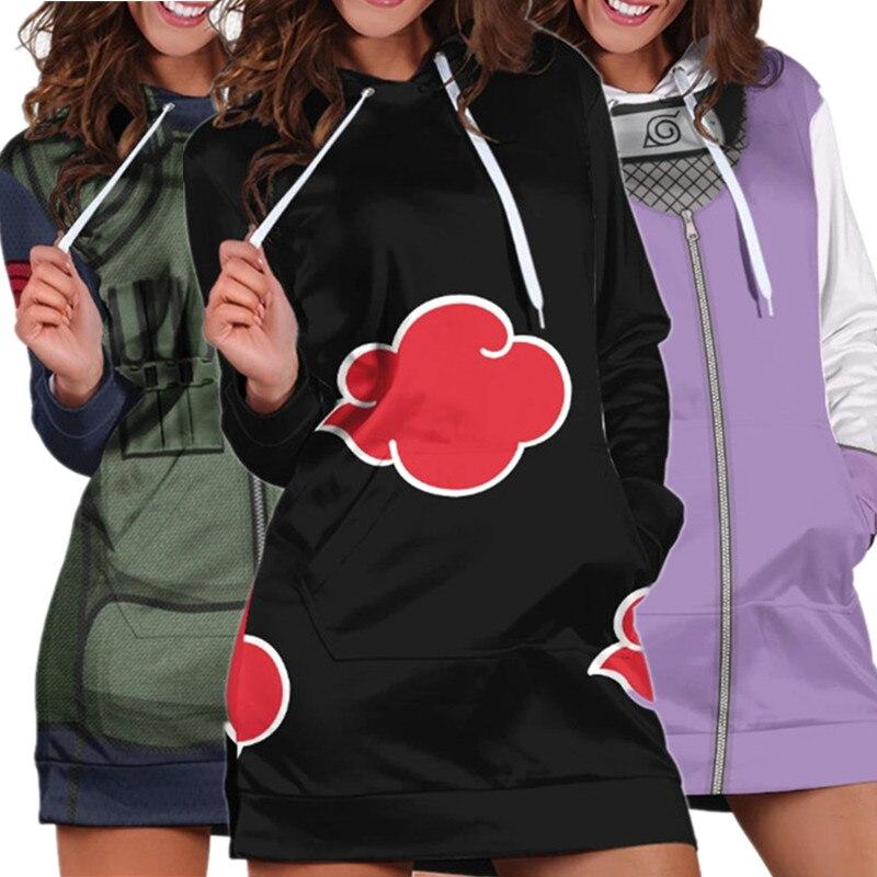 Girls Dress Hoodies Hapyto Hatake Kakashi Cosplay Costume Anime Akatsuki Uchiha Itachi Sweater Pajamas Sweatshirt