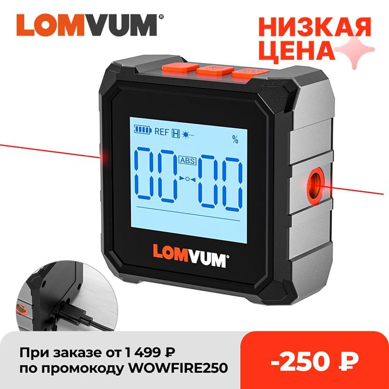 مقياس رقمي منقلة من LOMVUM مقياس الميل بالليزر بمنفذ USB 360 درجة أداة قياس درجة زاوية عالية الدقة أداة قياس الميل والمغناطيس