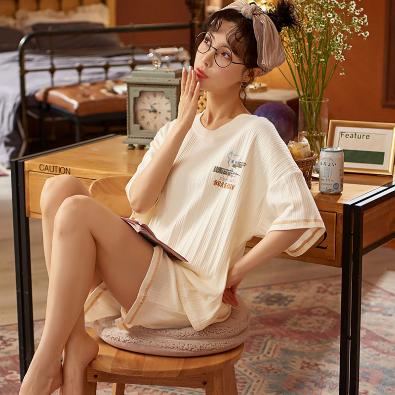Пижама Bear женская летняя тонкая из чистого хлопка с короткими рукавами костюм в Корейском стиле Повседневная Милая домашняя одежда для вес...