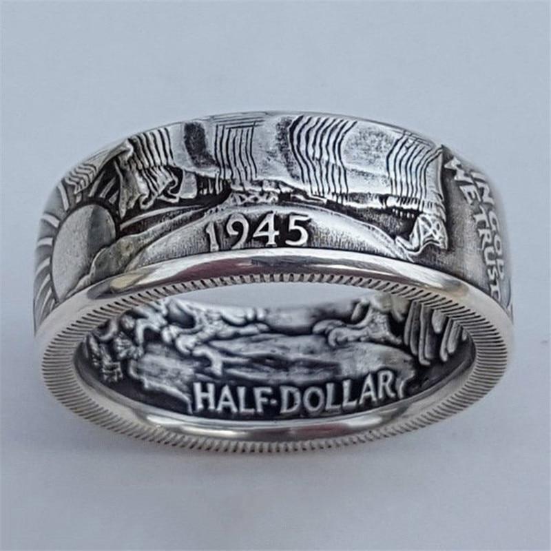 """Anillos de monedas NPKDS Vintage Morgan medio dólar 1945 tallado """"el Estado de América de los Estados Unidos"""" anillo en Dios confiamos en coleccionar joyas"""