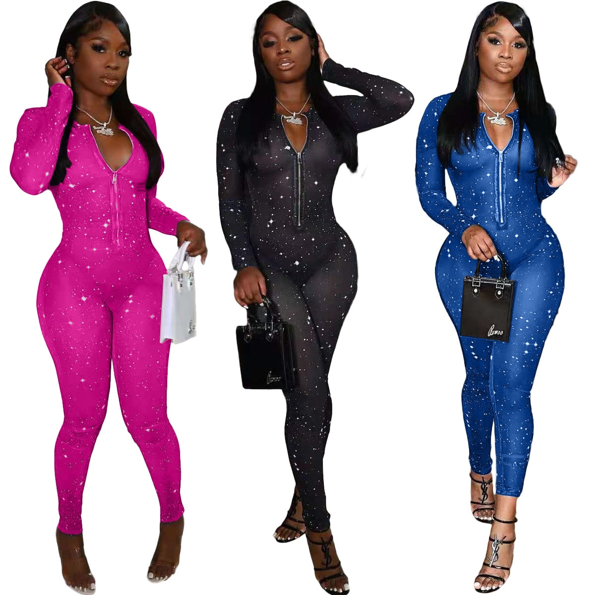 Polka Dot Print Mesh Jumpsuit Woman Long Sleeve Zipper V Neck Bodycon See Through One Piece Overalls Night Club Party Outfits