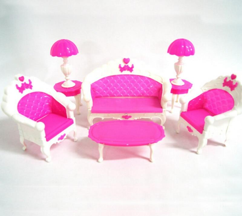 1set de regalo de cumpleaños para niña, sofá clásico de plástico, lámpara...