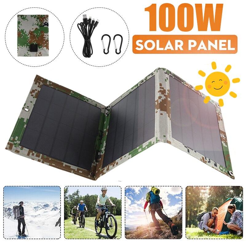 100 واط طوي مزدوج USB لوحة طاقة شمسية في الهواء الطلق للطي لوح طاقة شمسية مضاد للمياه لوحة طاقة شمسية شاحن موبايل شاحن بطارية الطاقة مع 4 في 1 كابل