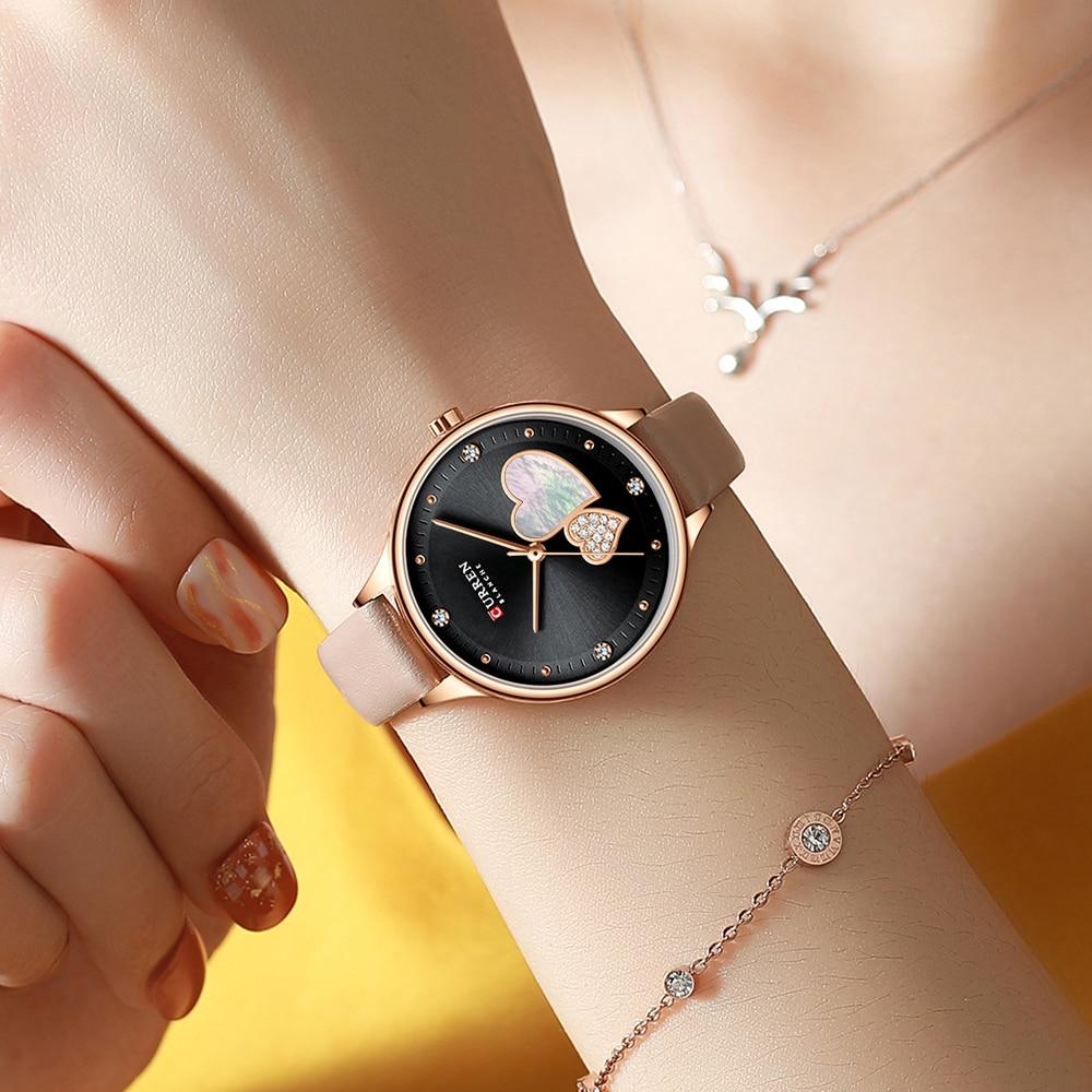 CURREN Women Fashion Black Golden Quartz Watch Charming Rhinestone Design Waterproof Leather Band Wristwatch Luxury Casual Clock enlarge